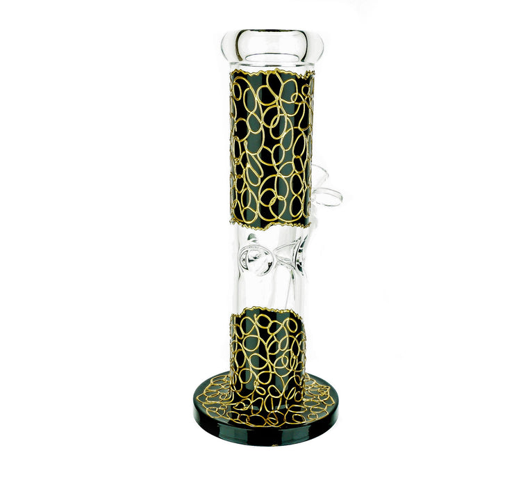"10"" Fancy Print Straight Ice Catcher Water Pipe - SmokeZone 420"