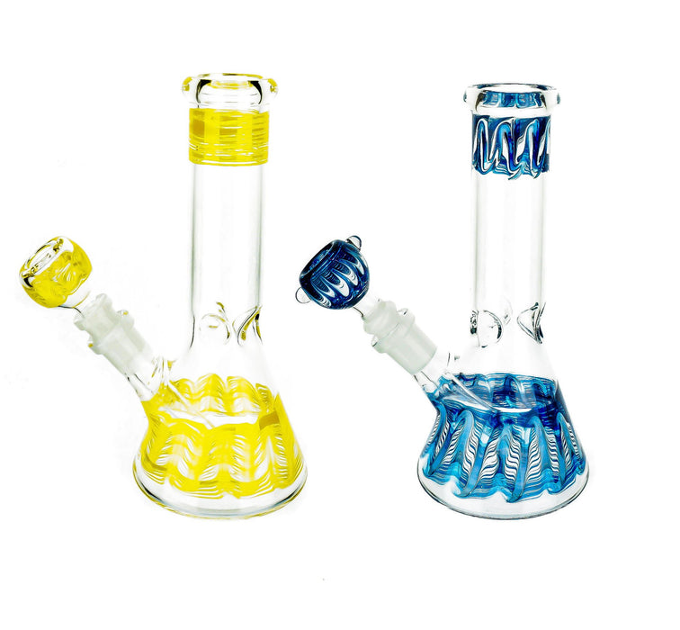 "8"" Ice Catcher Beaker Base Color Water Pipe - SmokeZone 420"