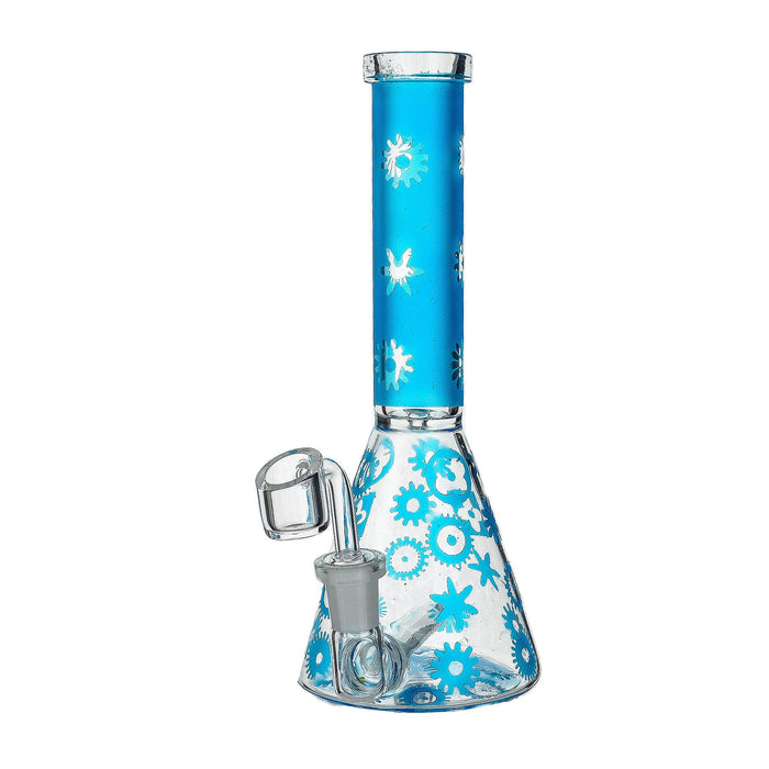 "9"" Inline Beaker Base Frosted Color Dab Rig - SmokeZone 420"