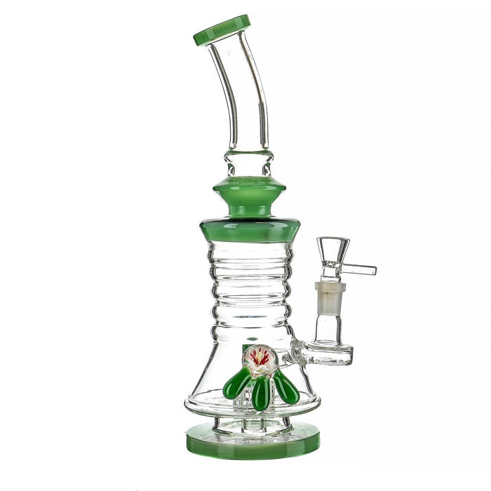 "11"" Side Bead Slanted Mouth Fancy Water Pipe - SmokeZone 420"