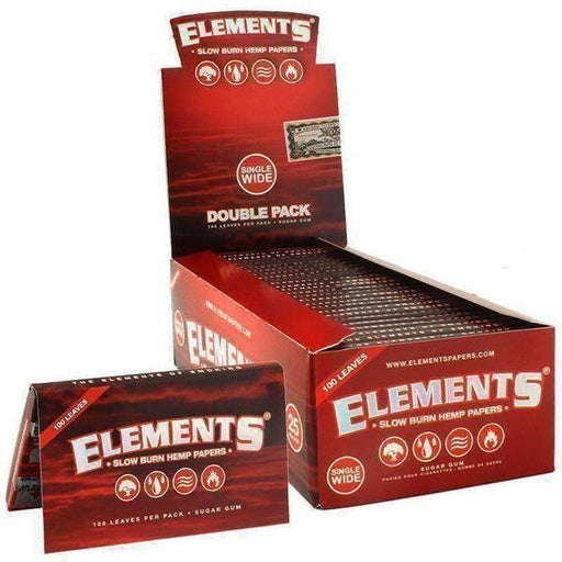 Elements Red Single Wide Slow Burn Rolling Papers - SmokeZone 420