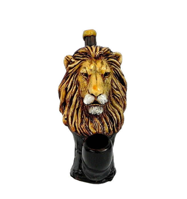 Lion Face Wood Pipe - SmokeZone 420