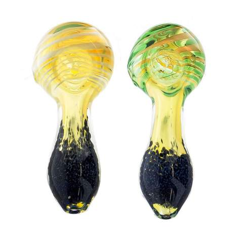 "4"" Spiral Head Inside Frit Body Hand Pipe - SmokeZone 420"