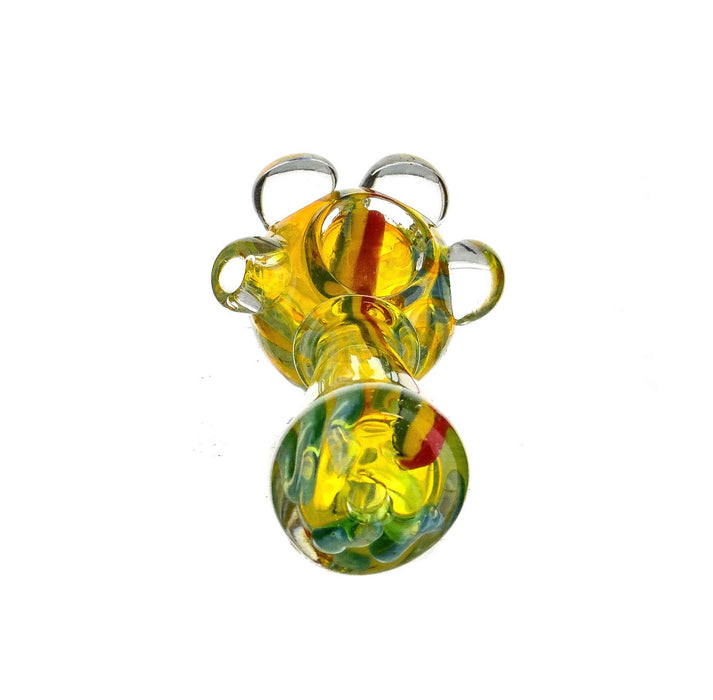"4.5"" Triple Bead Head Fumed Rasta Striped Hand Pipe - SmokeZone 420"
