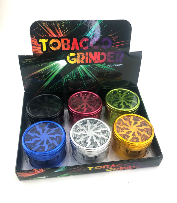 "2.5"" Lightning Clear Top Color Grinder - SmokeZone 420"