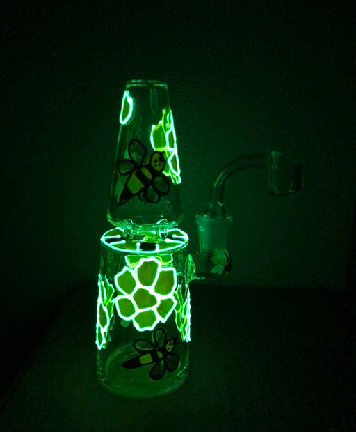 "6.5"" Glow In The Dark Cone Shape Bumble Bee Dab Rig - SmokeZone 420"