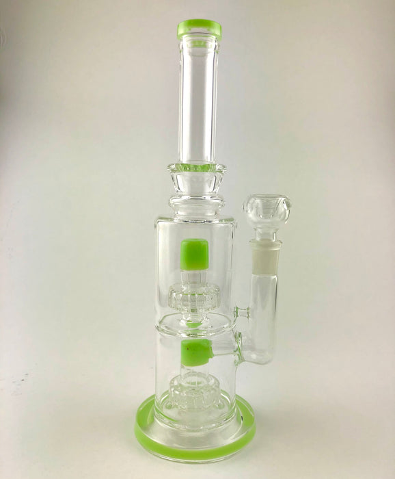 "12"" Slime Color Double Matrix Perc Water Pipe - SmokeZone 420"