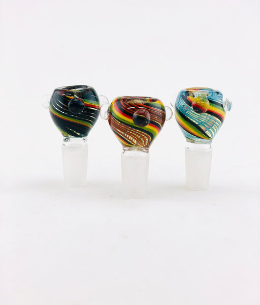 18mm Spiral Color Dichro Striped Bowls - SmokeZone 420