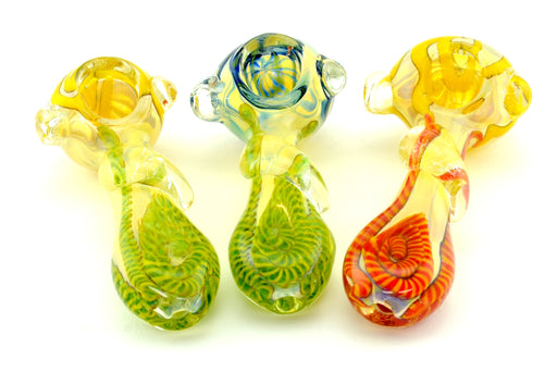 "4"" Flat Mouth Glass Drop Swirl Color Hand Pipe - SmokeZone 420"
