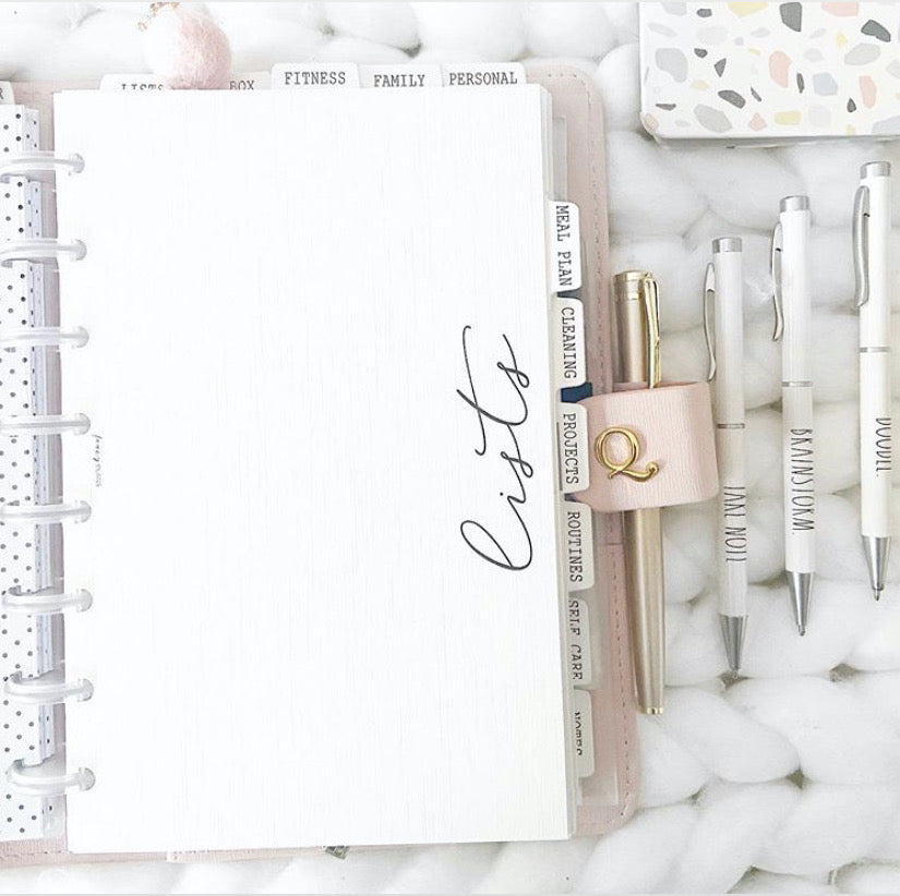 Planner Subjects White Linen Cardstock Dashboards <PRINTED AND SHIPPED>