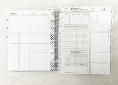 Expense Tracker White Board Insert <Half Sheet>