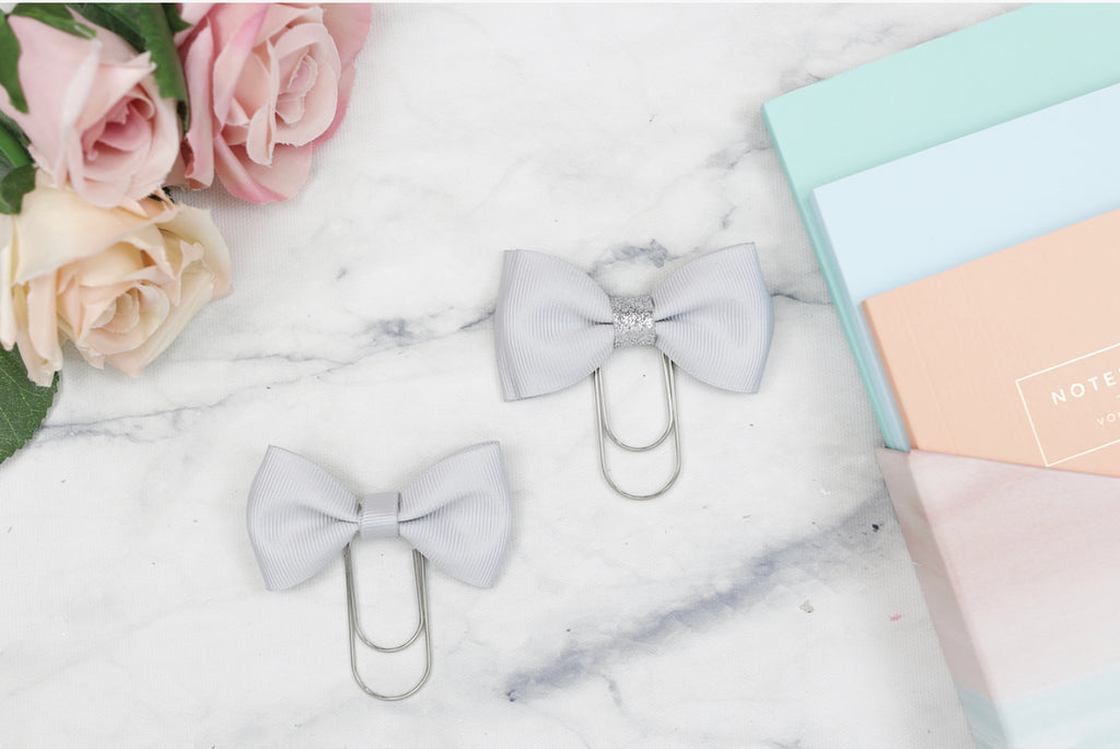 Double Grey Bow Paper Paper Clip