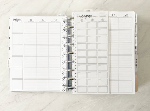 Instagram Content Feed Planner White Board Insert <Half Sheet Size>