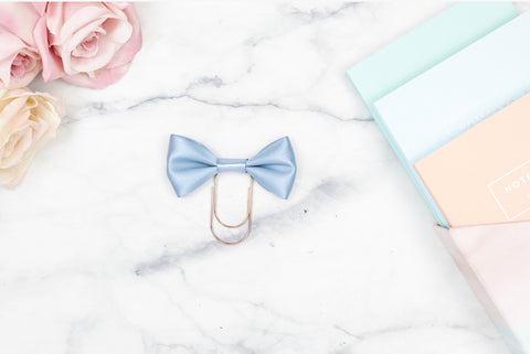 Chalky Blue Single Bow Paper Paper Clip