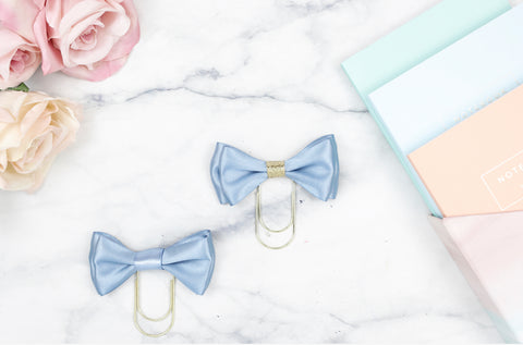 Double Chalky Blue Bow Paper Paper Clip
