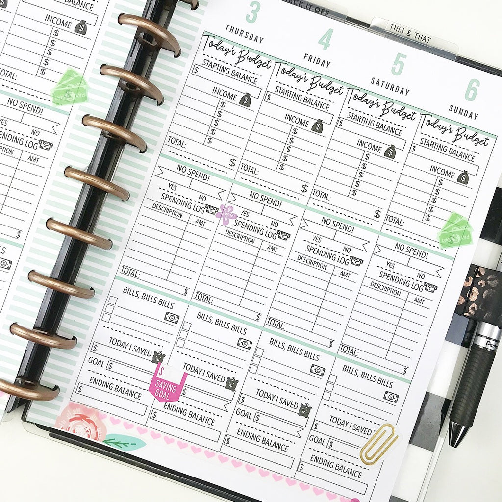 picture about Happy Planner Budget Printable identified as Spending budget - Template For Printing Inserts Clic Sizing Joyful