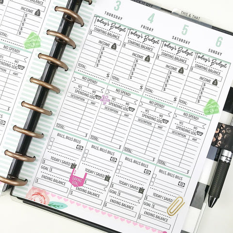 BUDGET - Template For Printing Inserts <Printables>  | Classic Size Happy Planner