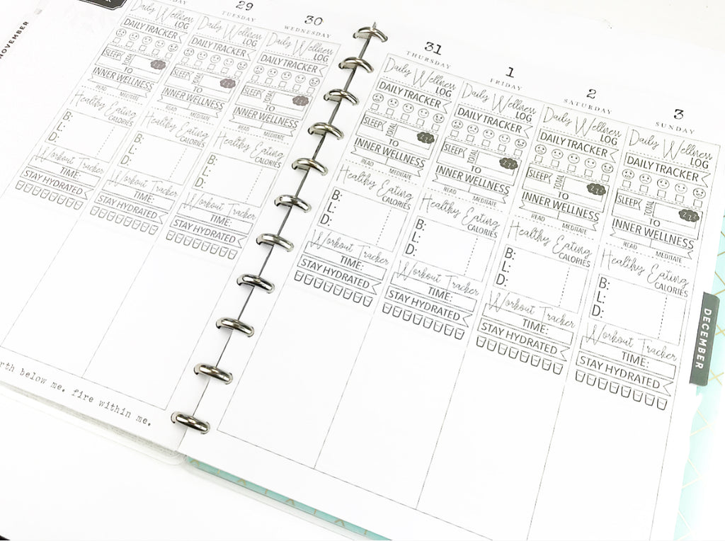 photograph regarding Happy Planner Printable Inserts known as Health and fitness - Template For Printing upon Inserts Significant Dimension Joyful