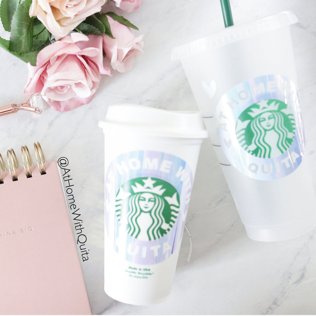 Personalized Starbucks Cup Decals w/Hearts Accents