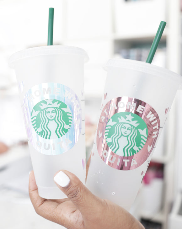 3pc Personalized Starbucks Cup Decals w/Hearts Accents {VINYL DECAL ONLY}