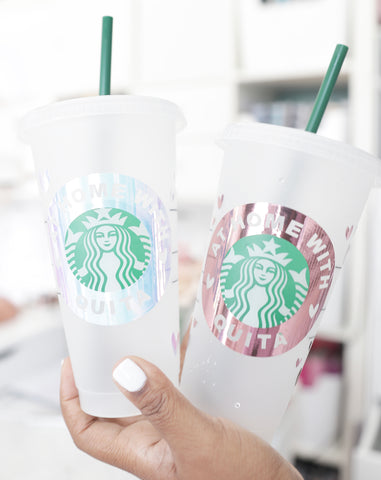 3pc Personalized Starbucks Cup Decals w/Star Accents {VINYL DECAL ONLY}