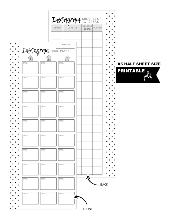 A5 + Half Letter Half Sheet Instagram Feed Planner Fill Paper Inserts <PRINTABLE PDF>