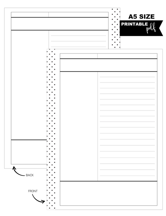 A5 Cornell Notes Fill Paper Inserts <PRINTABLE PDF>