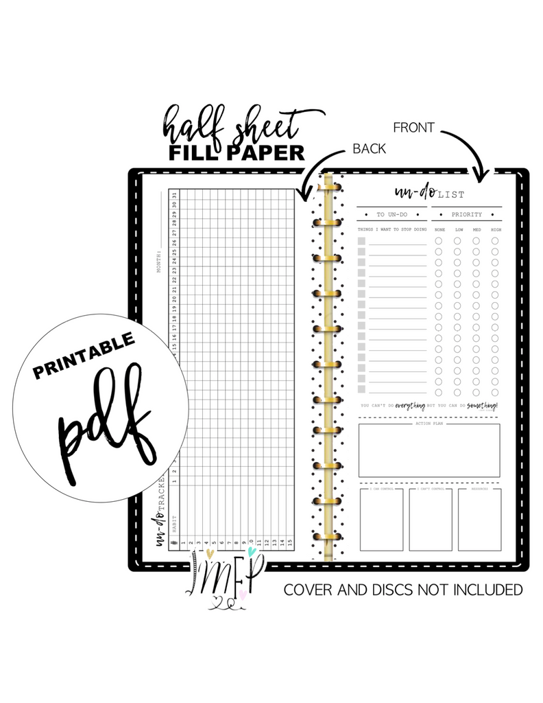 Un-Do List Fill Paper <PRINTABLE PDF> Half Sheet