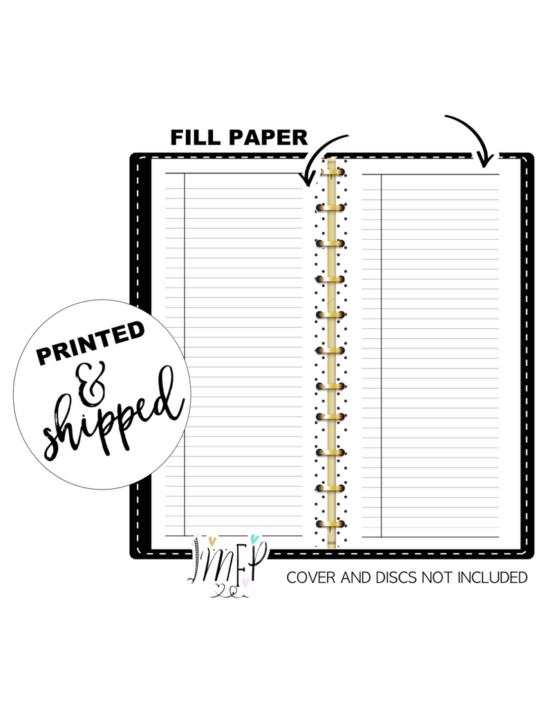 Ruled Note Fill Paper <PRINTED AND SHIPPED> Half Sheet