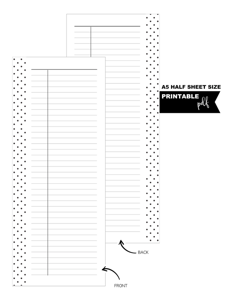 A5 + Half Letter Half Sheet Ruled Notes Fill Paper Inserts <PRINTABLE PDF>