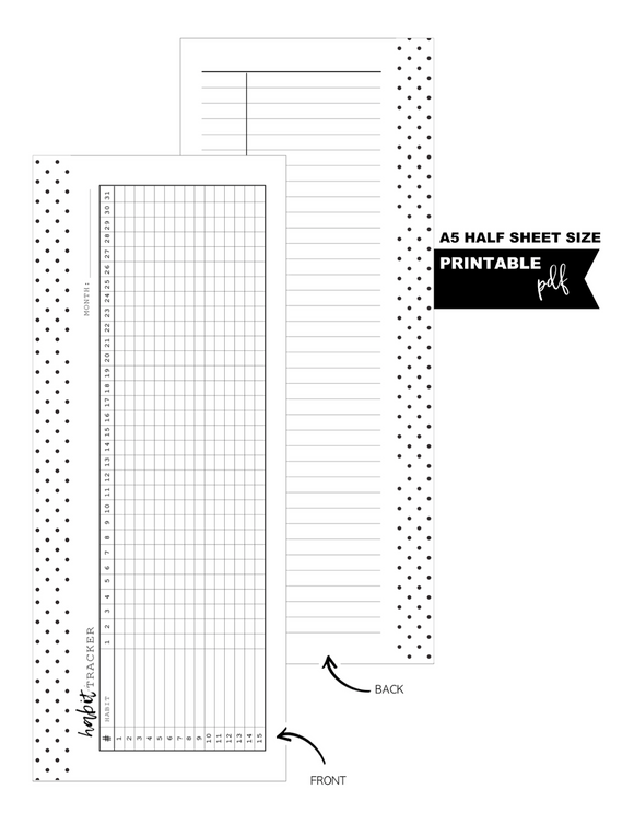 A5 + Half Letter Half Sheet Habit Tracker Fill Paper Inserts <PRINTABLE PDF>