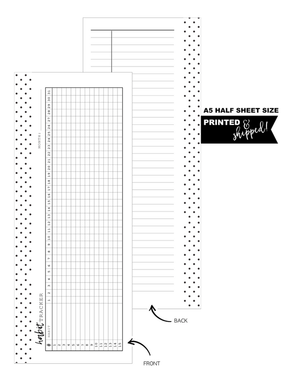 Half Sheet Habit Tracker Fill Paper Inserts <PRINTED AND SHIPPED> A5 + Half Letter