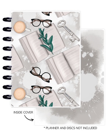Cover Set of 2 <Double Sided Print> Books and Glasses