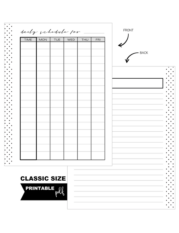Schedule Homeschool Standard Fill Paper Inserts <PRINTABLE PDF>