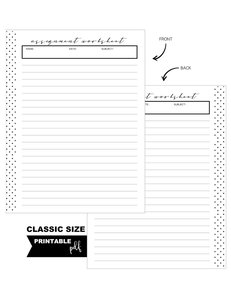 Assignments Homeschool Standard Fill Paper Inserts <PRINTABLE PDF>