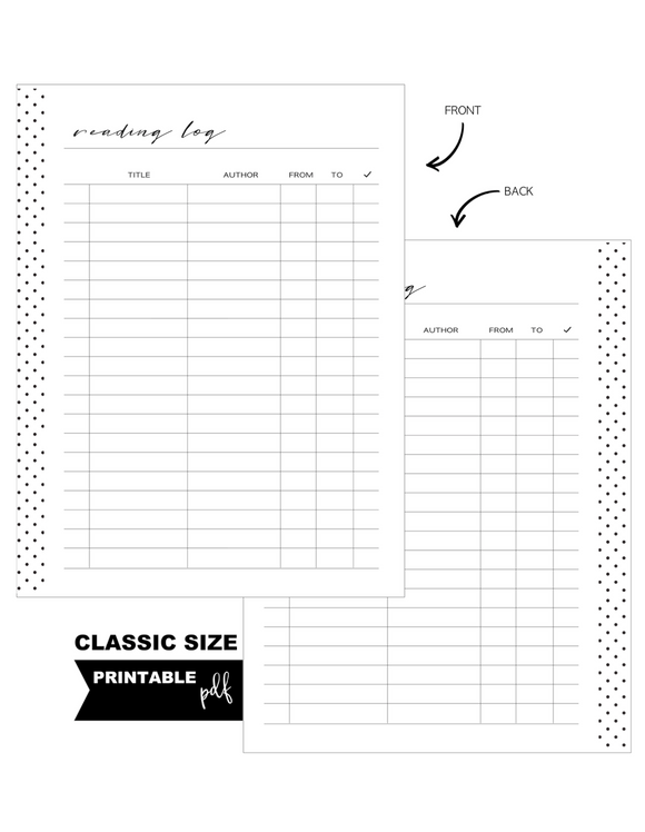 Book Reading Log Standard Fill Paper Inserts <PRINTABLE PDF>