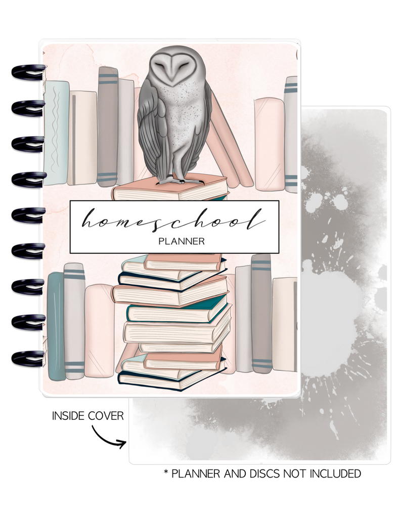 Cover Home School Set of 2 <Double Sided Print> Books and Owl