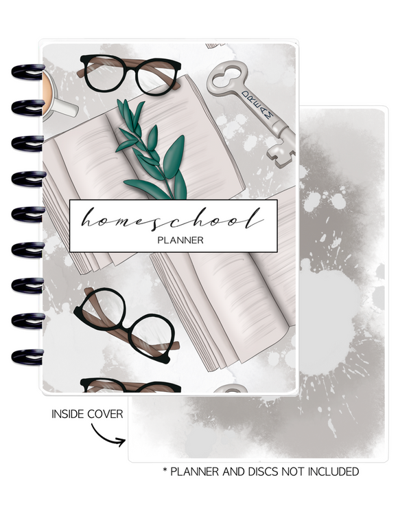 Cover Home School Set of 2 <Double Sided Print> Books and Glasses