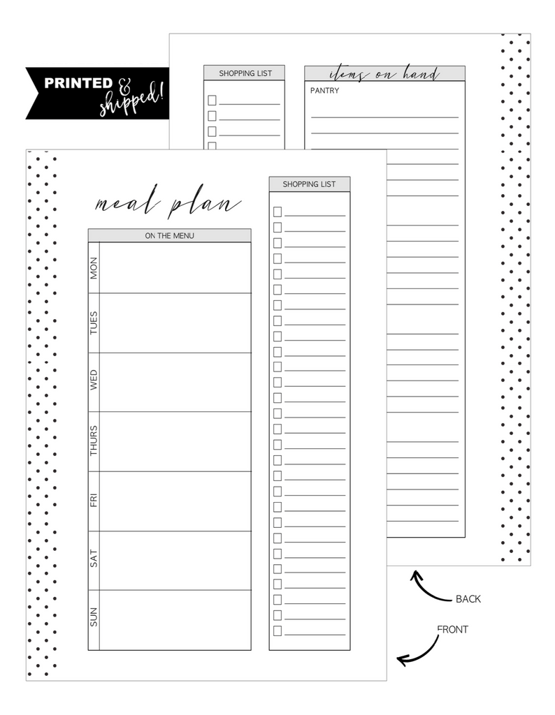 Meal Planner Fold Out Fill Paper <PRINTED AND SHIPPED>