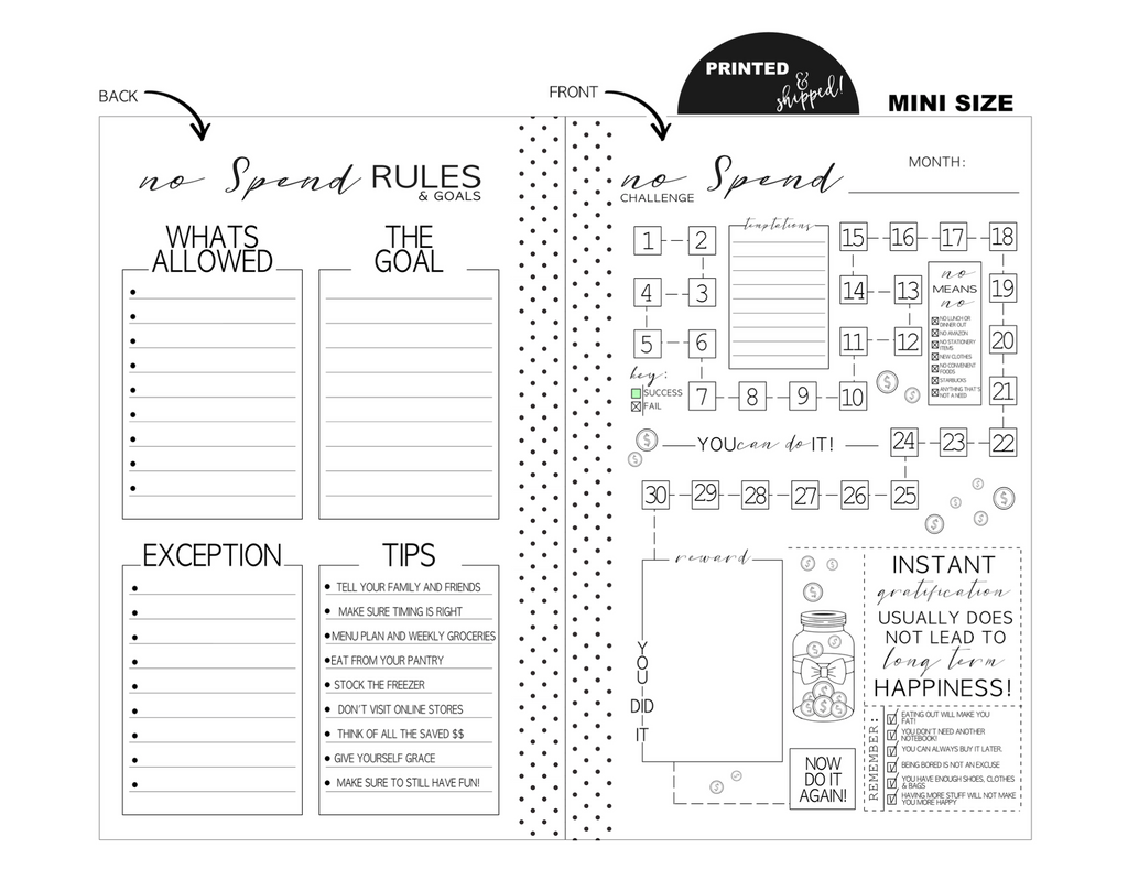 Mini Monthly No Spend Tracker Fill Paper <PRINTED & SHIPPED>