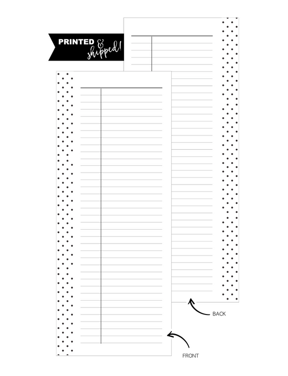 Half Sheet Ruled Notes Fill Paper Inserts <PRINTED AND SHIPPED> A5 + Half Letter