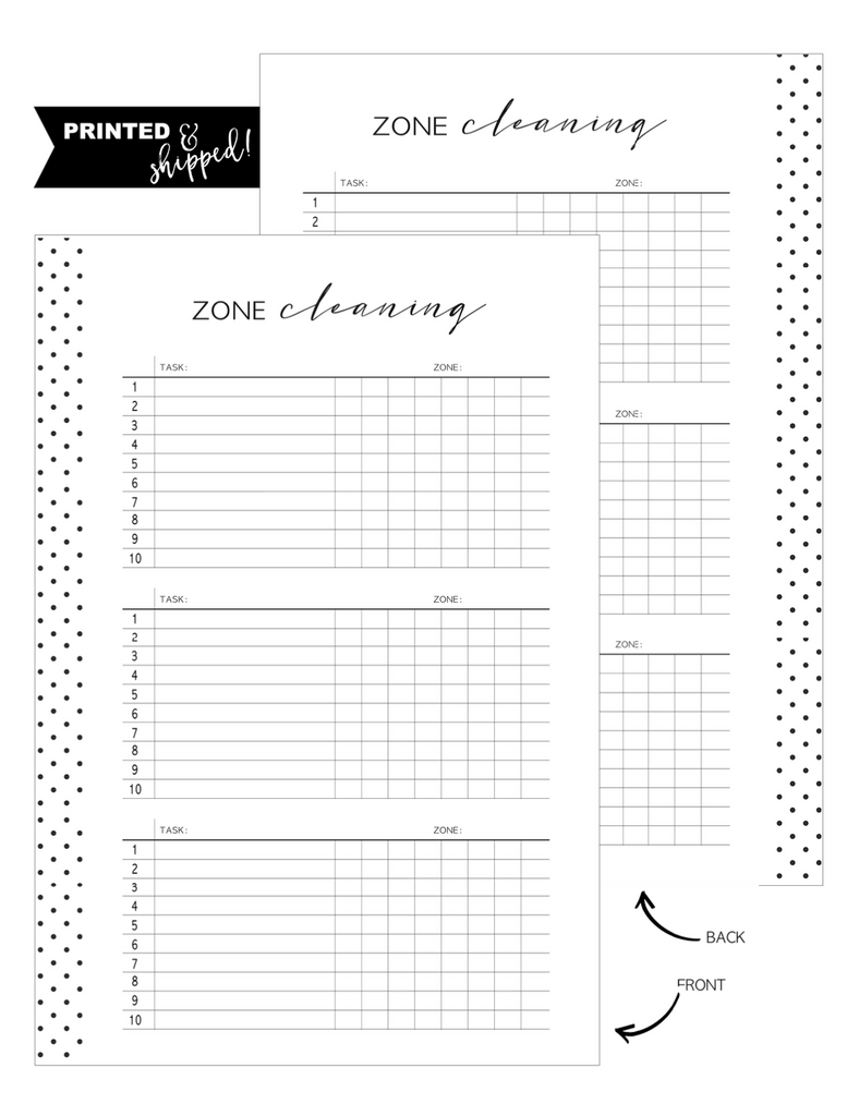 Zone Cleaning Fill Paper Inserts <PRINTED AND SHIPPED>