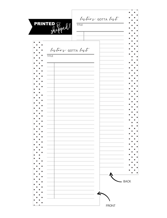 Half Sheet Listers Gotta List Fill Paper Inserts <PRINTED AND SHIPPED> A5 + Half Letter