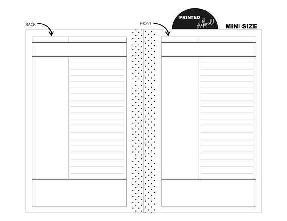 Mini Cornell Notes Fill Paper <PRINTED & SHIPPED>