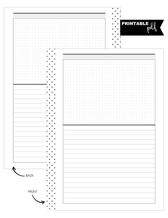 A5 Lined and Dot Grid Horizontal Fill Paper Inserts <PRINTABLE PDF>