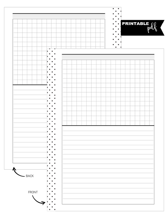 A5 Lined and Lined Grid Horizontal Fill Paper Inserts <PRINTABLE PDF>