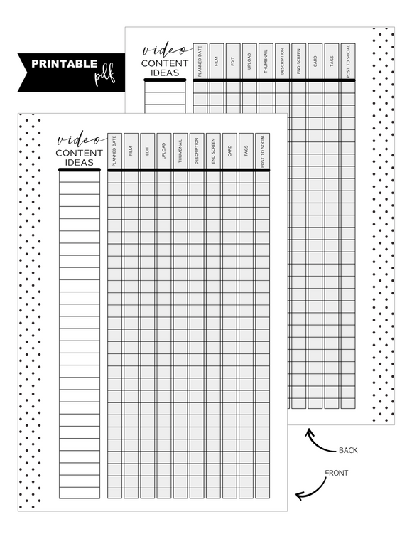 A5 Youtube Ideas Fill Paper <PRINTABLE PDF>
