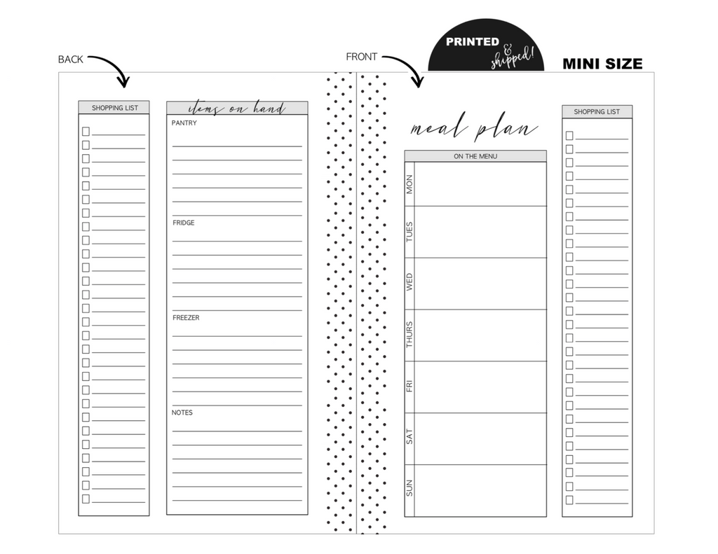 Mini Meal Planning Fold Out Fill Paper <PRINTED & SHIPPED>