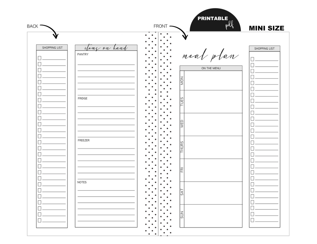 Mini Meal Planning Fold Out Inserts <PRINTABLE PDF>