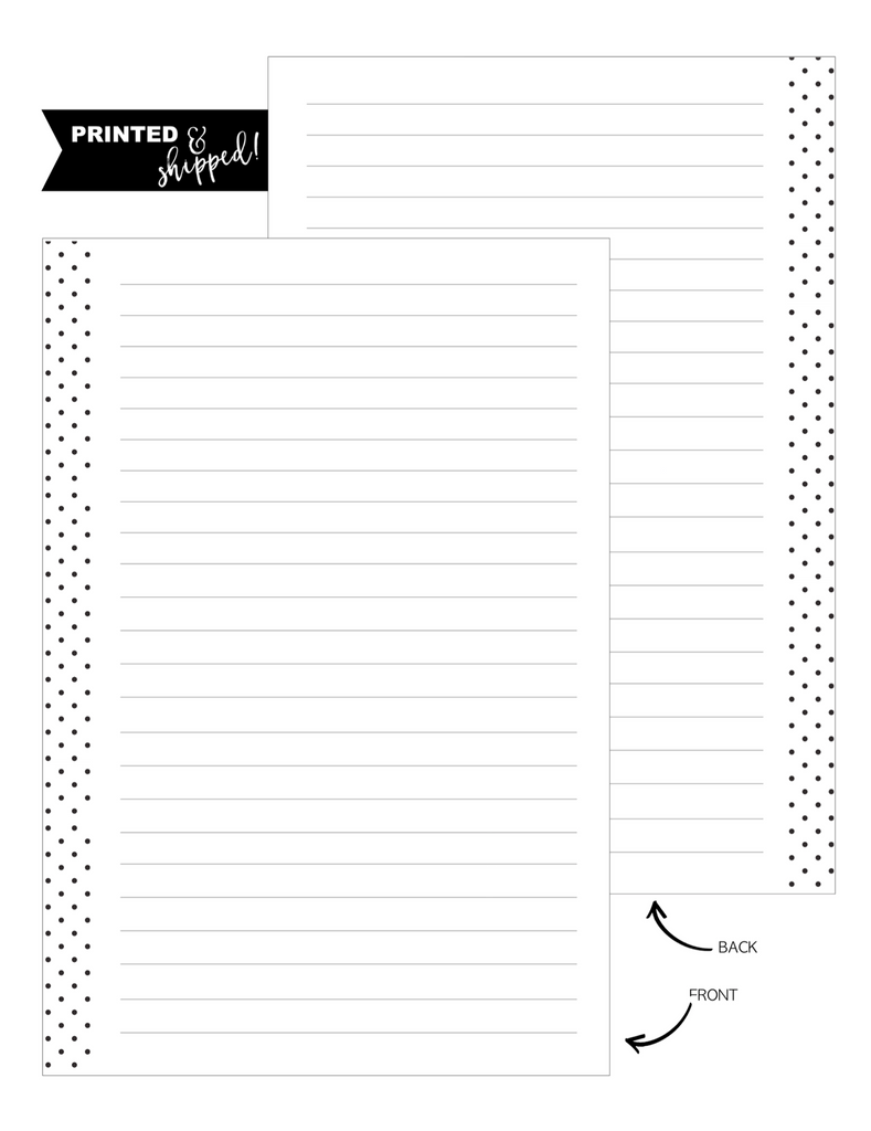 Lined No Boxes Fill Paper Inserts <PRINTED AND SHIPPED>